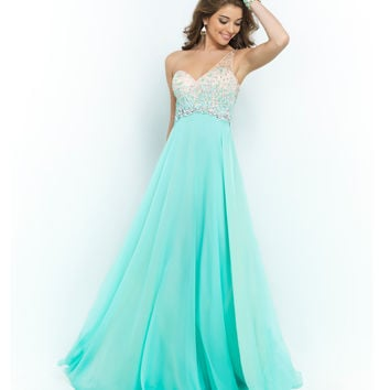 Sea Glass Green Beaded Ombre One Shoulder Open Back Chiffon Gown