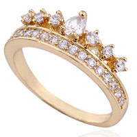 Delicate Gold Plated Cubic Zirconia Princess Crown Ring - 18k Yellow Gold /