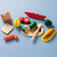 Kids' Kitchen & Grocery: Kids Pretend Wooden Sliced Toy Food Set