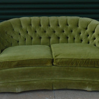 Vintage Lime Green Loveseat Sofa - Conversation Couch with Curved Arms