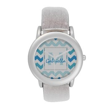 Monogram: Blue And White Chevron Pattern Watch