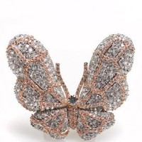 Women&#x27;s Butterfly Ring (Clear/Pink/Silver) | Noir | 80&#x27;s Purple