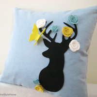 Secret Garden. Deer Dreaming Of Spring Soft Blue Pillow Cover. Decorative Whimsical Cushion