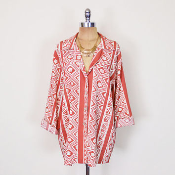 Vintage 80s 90s Coral Tribal Shirt Blouse Top Tribal Print Shirt Ethnic Slouchy Oversize Shirt Button Up Shirt Boho Shirt Women S M L XL XXL