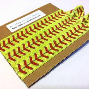 softball hair ties, set of 3 hairties, FOE knot elastic ponytail holders, fluorescent with red stitches print, neon yellow sports hair ties