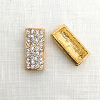 2 pcs, Gold Bar, Bar Link, Bracelet, Chunky, Gold Plate, Glass Rhinestone, DIY Jewelry, Jewelry Supplies, A0043