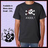 Pirate ARRR Halloween Mens T Shirt available in sizes S - 3XL with Rhinestud Bandana and Eye Patch Great Geeky Gift