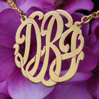 "Personalized Monogram Initials  Necklace 1.5"" (Order Any Initials) - 24K Gold overlay"