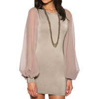 TS Nude Vintage Puff Sleeves Dress - US$ 29.99