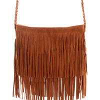 Camel Fringe Knit Strap Shoulder Bag - Goods - Retro, Indie and Unique Fashion