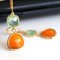 Orange spring green crystal earrings, tangerine green glass earrings,  long dangle earrings, bridesmaid gifts. Wedding jewelry.