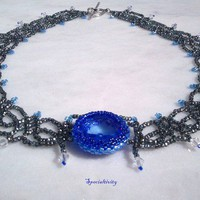 Black diamond hand beaded blue glass cabochon Swarovski necklace