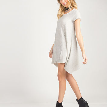 Simple Flared T-Shirt Dress - Gray /