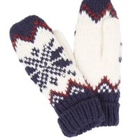 Navy Fairisle Print Knitted Mittens