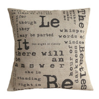 Personalised Lyrics Quote Typography Hessian Burlap Linen Pillow Cushion Cover 16""