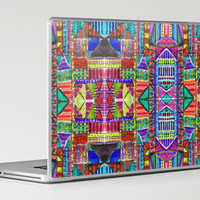 Tribal Patchwork Blue Laptop & iPad Skin by Amy Sia | Society6