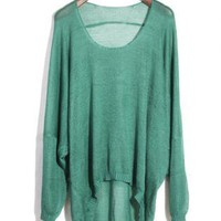 Asymmetric Round Neck Green Sweater  S002467