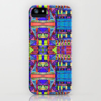 Tribal Patchwork II Blue iPhone Case by Amy Sia | Society6