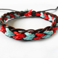 Fashion adjustable leather bracelet woven bracelet ropes bracelet women bracelet girls bracelet made of hemp rope and leather woven SH-1495