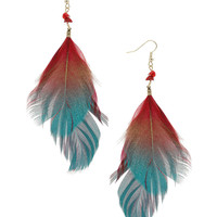 Red spray effect feathers - Dorothy Perkins - Length including fishhook 130mm