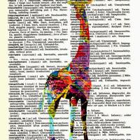 Rainbow Giraffe Vintage French to English Dictionary Page Original Art D