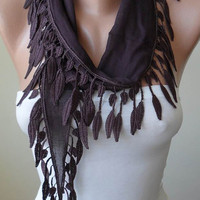 Trendy - Brown-Dark Purple Cotton Scarf with Brown Trim Edge
