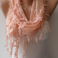 Trendy - Soft Lace Scarf - Lace Scarf in Light Salmon with Salmon Trim Edge