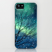iPhone 5 Case, iPhone 5, northern lights, aurora borealis, winter snow, case for iPhone 5, aqua, stars, zodiac, astrology, horoscope