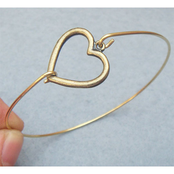 Heart Bangle Bracelet Style 14