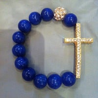 Lapiz Lazuil and Gold Crystal Beads Shamballa Sideways Cross Bracelet
