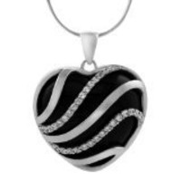 Sterling Silver CZ-accented Black Onyx Heart Necklace | SilverBin