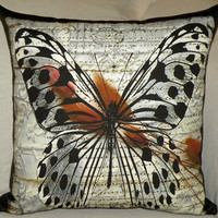 "Pillow Cover - ""Parchment Butterfly"" - Hand Made - Fits 18x18 Insert - original design"
