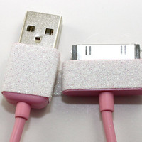 Pink and white glitter iphone charger
