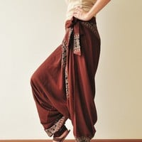 All Around The World...Brown Printed Rayon Harem Pants