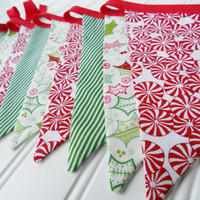 Christmas Bunting/Holiday Banner - Fabric Flags Banner for Christmas, Red and Green - Photo Prop - HOLLY JOLLY Christmas Bunting