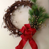 Grapevine Christmas Wreath with Bells
