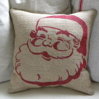 burlap Christmas Santa stuffed pillow