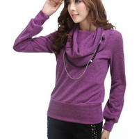 Women Autumn Slim Golilla Pile of Collar Long Sleeve Purple Knitting Sweater One Size @WH0221pu $22.99 only in eFexcity.com.