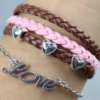 LOVE bracelet,retro silver little love letters with love heart Pandora bead,alloy bracelet,pink and brown leather braid bracelet