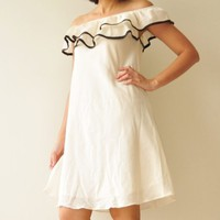 Wave.... Off The Shoulder White  Cotton Dress