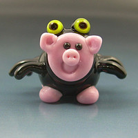 SpiderPig Spider Pig Halloween Handmade Lampwork Glass Focal Bead SRA Gelly