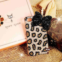 iPhone 5 case - iPhone 4 case - Bling iPhone 4s Case - Black Diamond Bow iPhone 4 case Unique iphone 4 case leopard iphone 4 cover