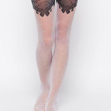 Leg Avenue Sheer Polka Dot Tights With Scalloped Lace Accent