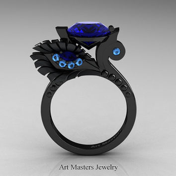 High Fashion Nature Inspired 14K Black Gold 3.0 Ct Blue Sapphire Blue Topaz Marquise Eye Engagement Ring R359S-14KBGBTBS