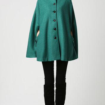 Teal Cape Coat - Turquoise Winter Poncho with Pockets Military Style - Gift for Her  (1129)