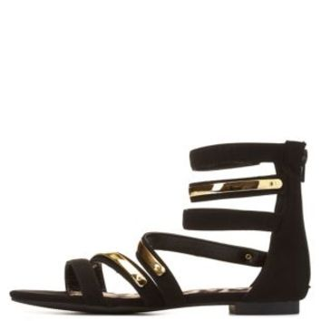 Qupid Strappy Ankle Cuff Gladiator Sandals by Charlotte Russe - Black
