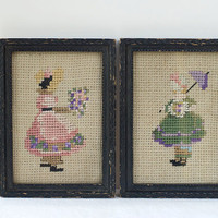 Framed Embroidered Pictures Vintage