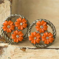 Earrings Orange Flowers Vintage Screw Backs