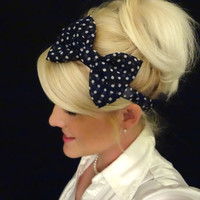 Navy blue and white polka dot chiffon bow stretch headband pinup/nautical/retro