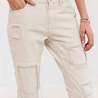 BDG Slim-Fit Boyfriend Jean - Tea Stain Patch- Ivory